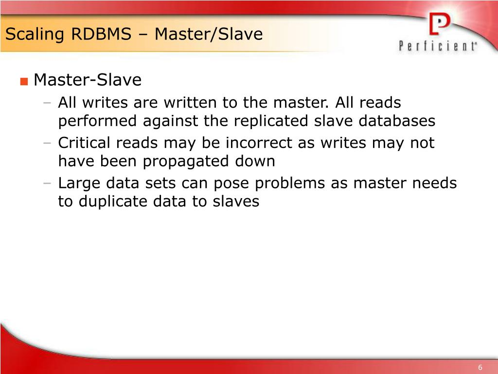 Scaling RDBMS – Master/Slave