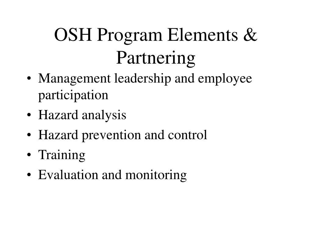 OSH Program Elements & Partnering
