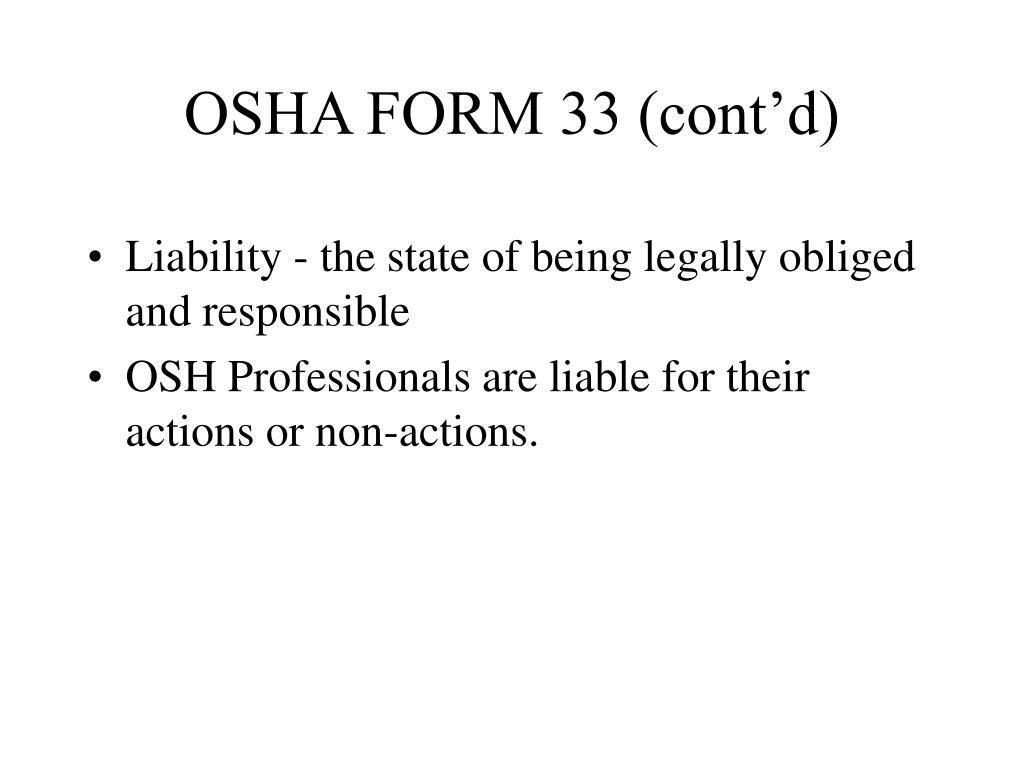 OSHA FORM 33 (cont'd)
