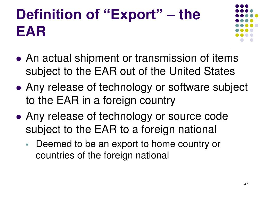 "Definition of ""Export"" – the EAR"