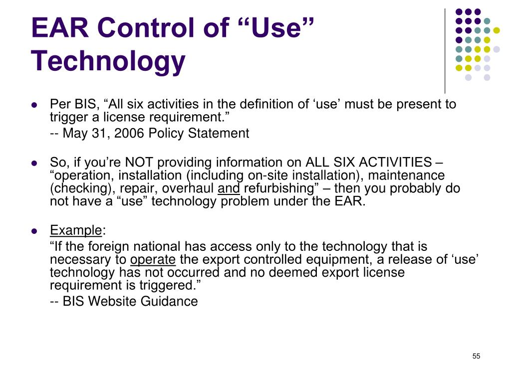"EAR Control of ""Use"" Technology"