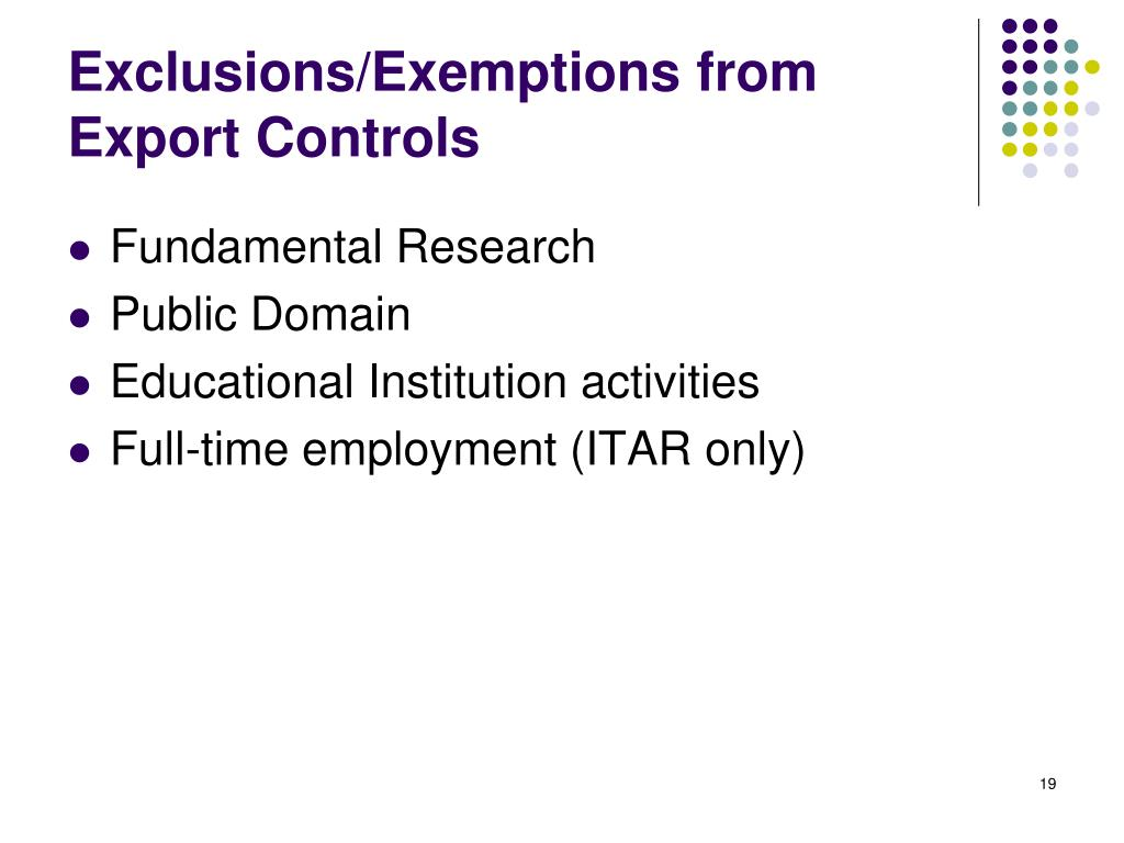 Exclusions/Exemptions from Export Controls