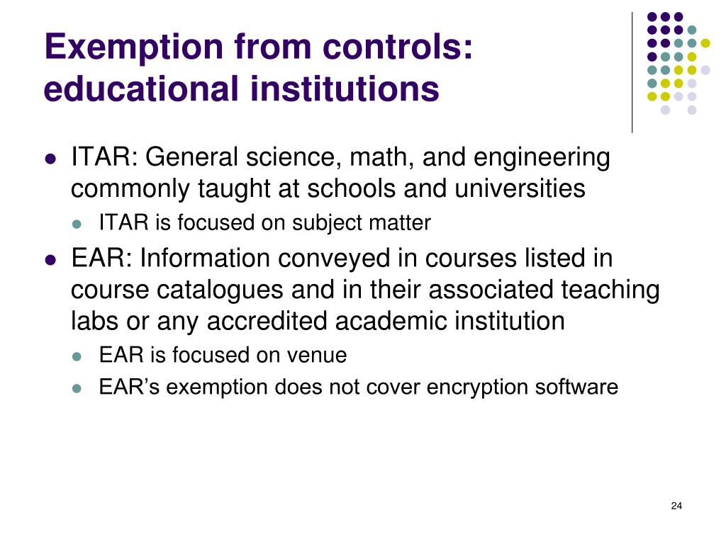 Exemption from controls: educational institutions