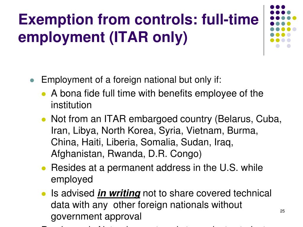 Exemption from controls: full-time employment (ITAR only)