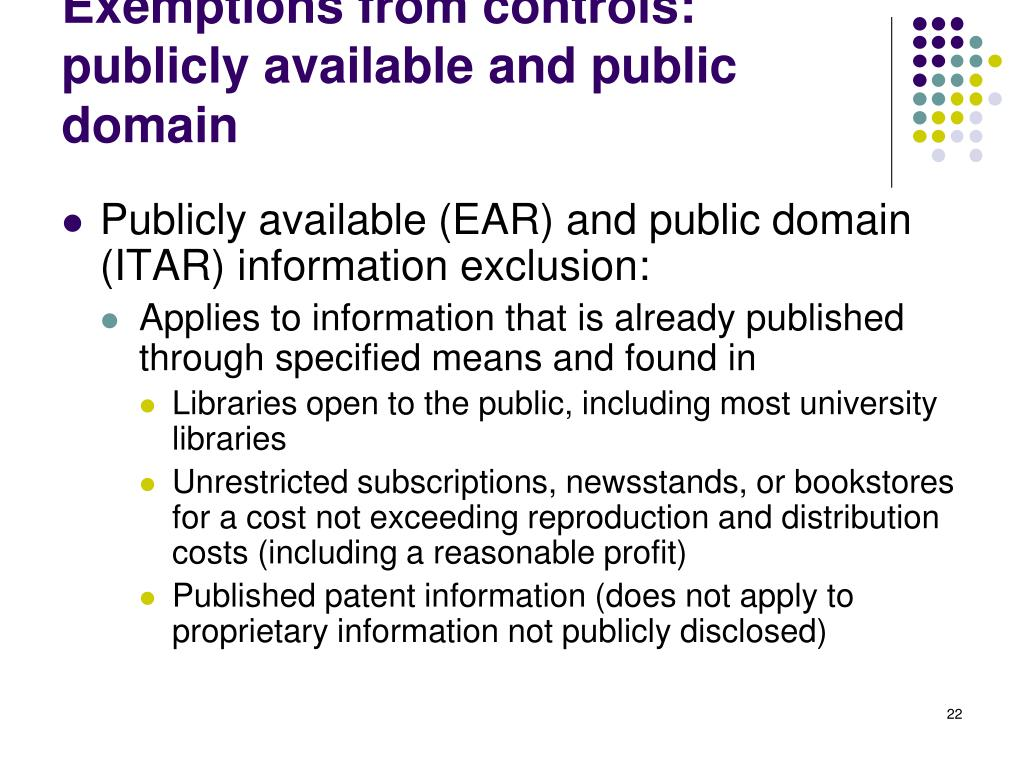 Exemptions from controls: publicly available and public domain