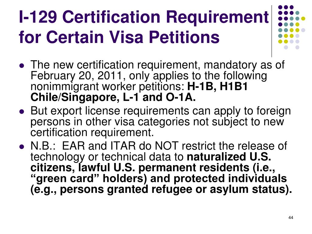 I-129 Certification Requirement for Certain Visa Petitions