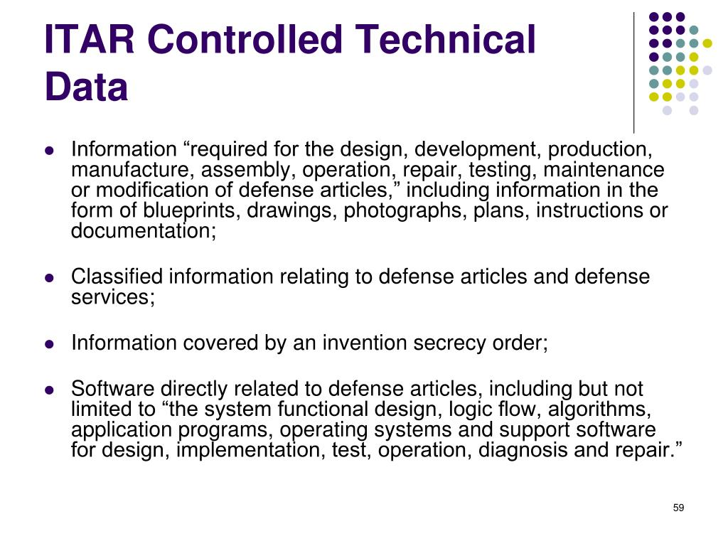ITAR Controlled Technical Data