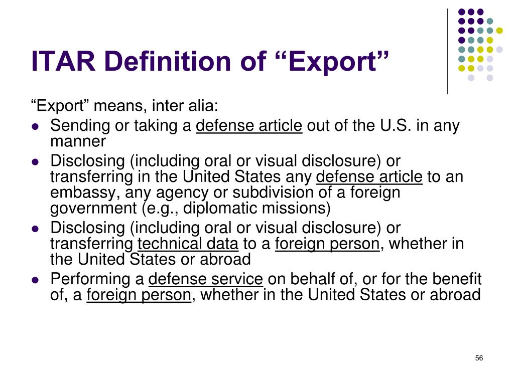 "ITAR Definition of ""Export"""