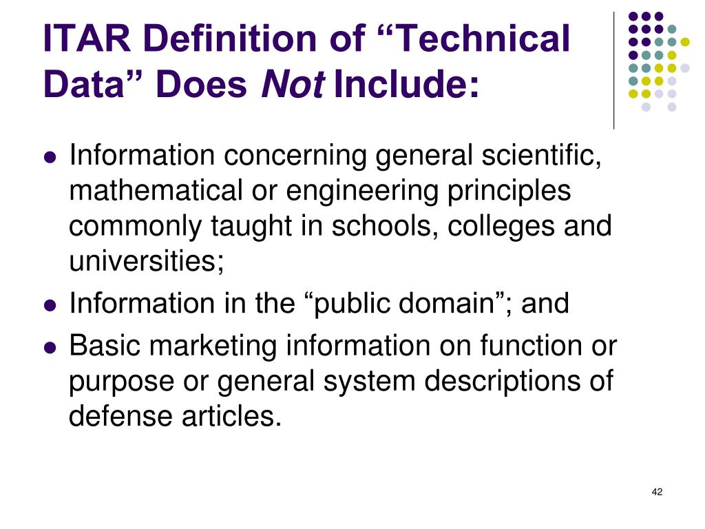 "ITAR Definition of ""Technical Data"" Does"