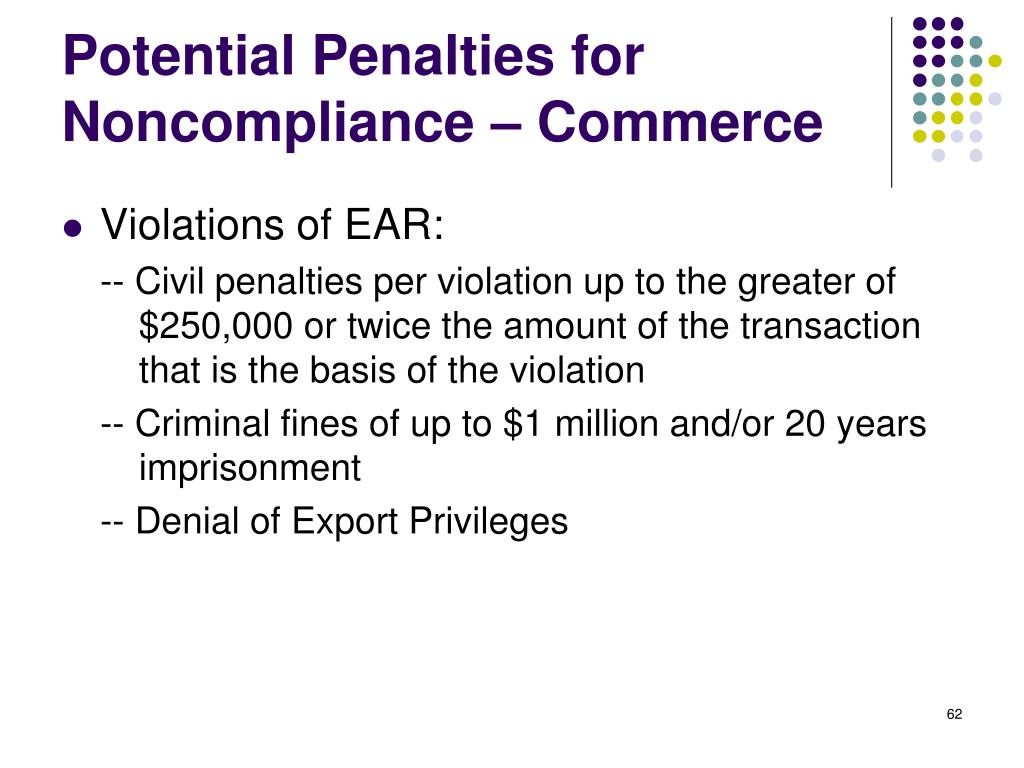 Potential Penalties for Noncompliance – Commerce