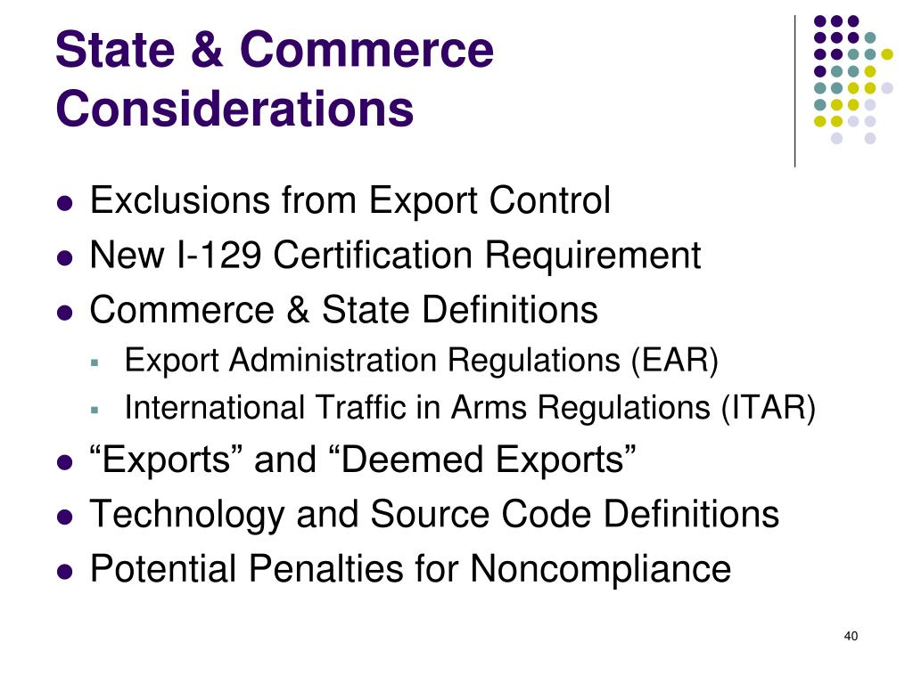 State & Commerce Considerations