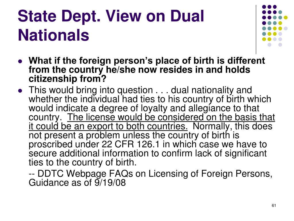 State Dept. View on Dual Nationals