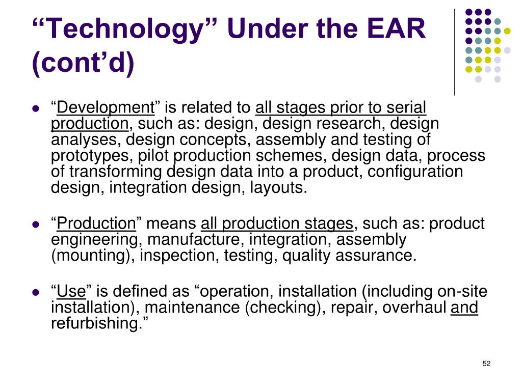 """Technology"" Under the EAR (cont'd)"