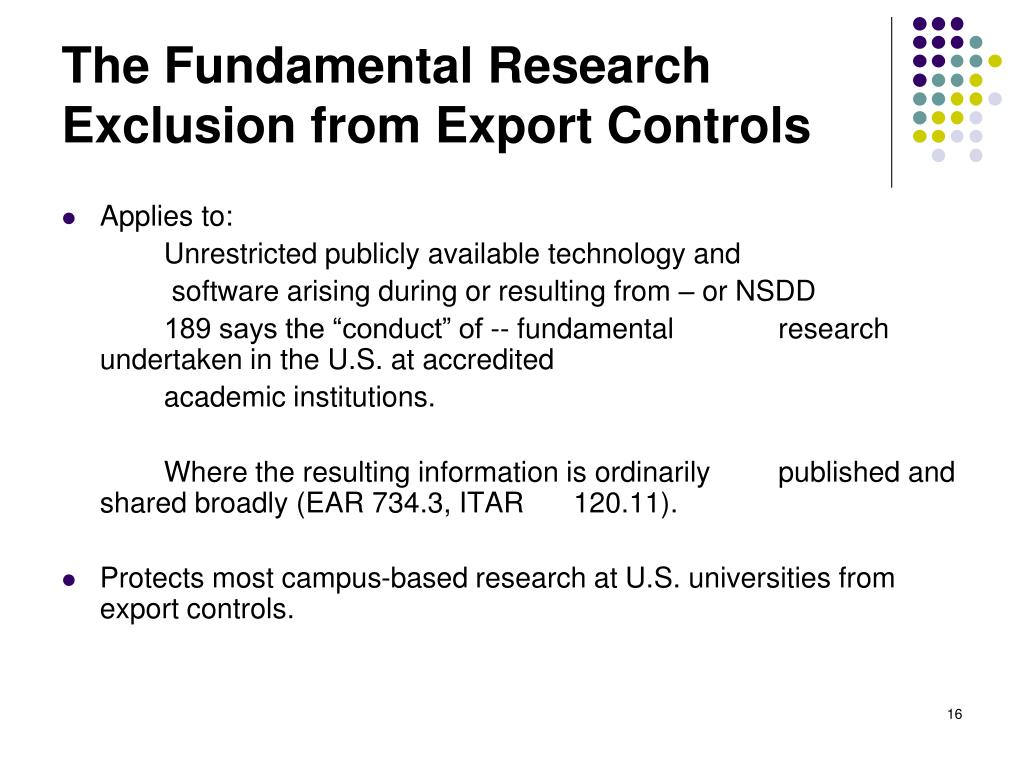 The Fundamental Research Exclusion from Export Controls