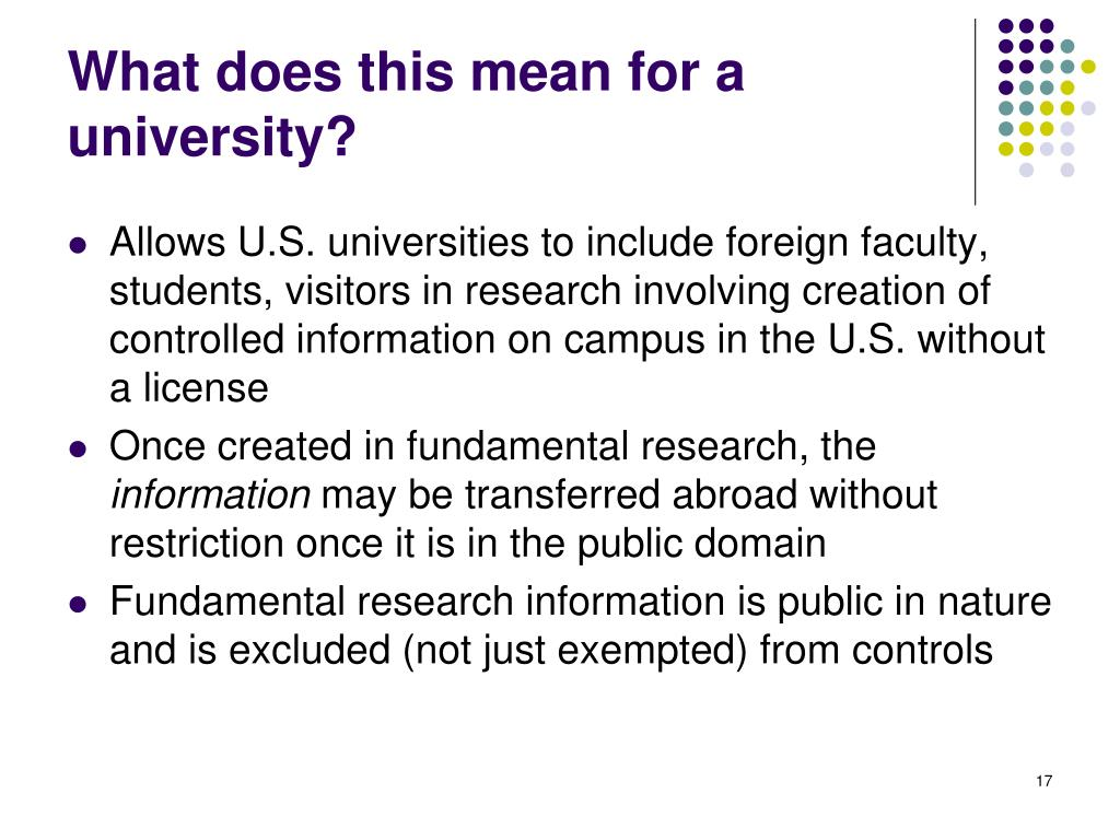What does this mean for a university?
