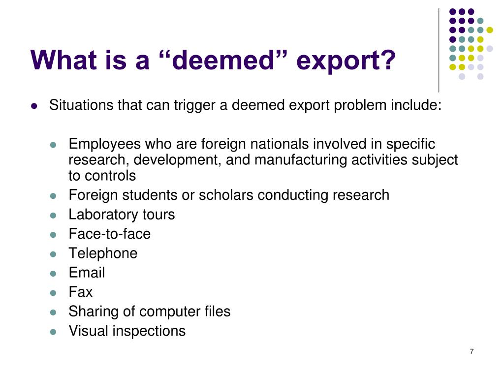 "What is a ""deemed"" export?"