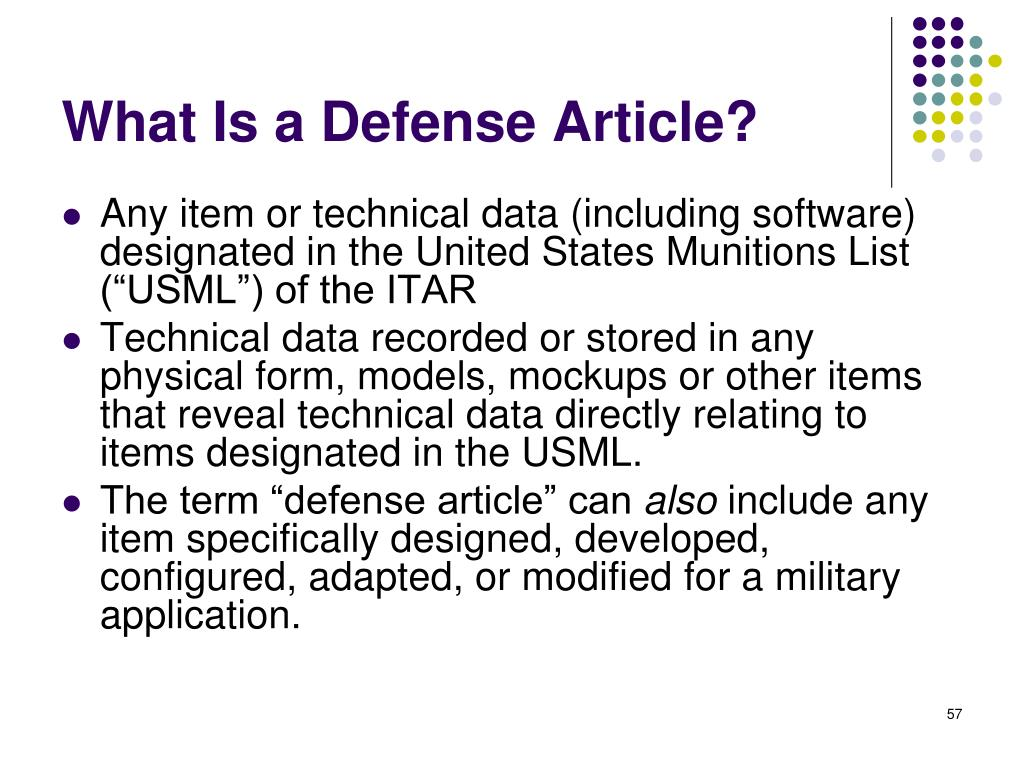 What Is a Defense Article?