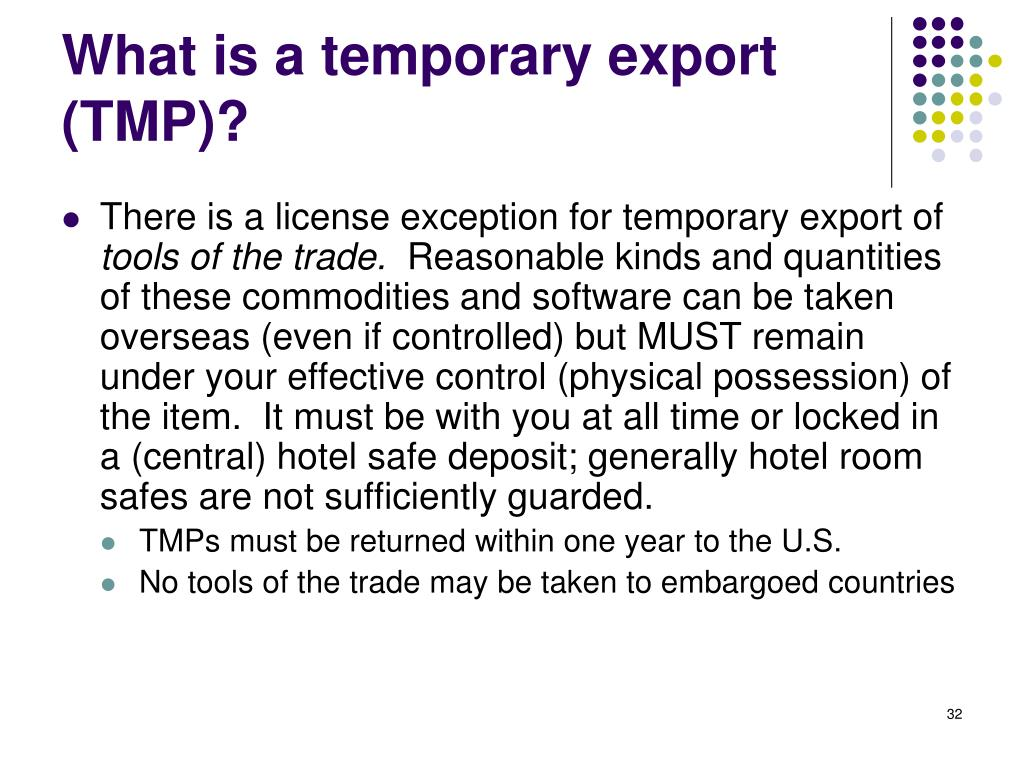What is a temporary export (TMP)?