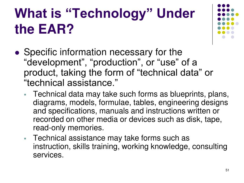 "What is ""Technology"" Under the EAR?"