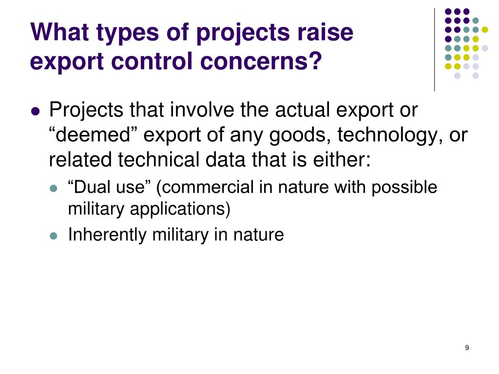 What types of projects raise export control concerns?