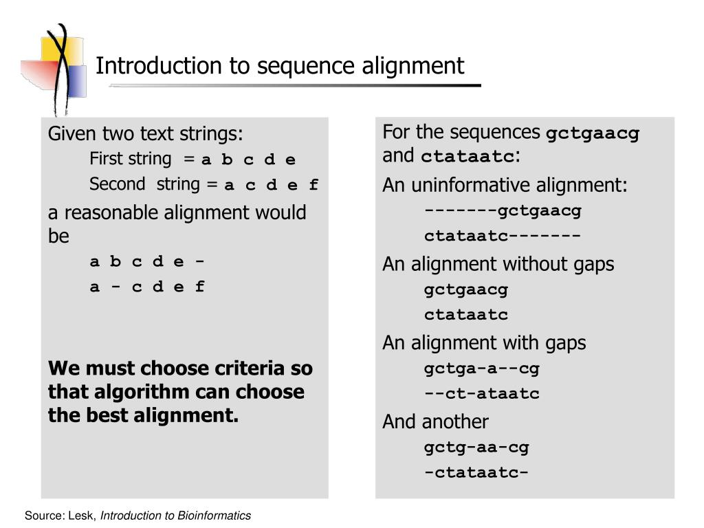 Introduction to sequence alignment