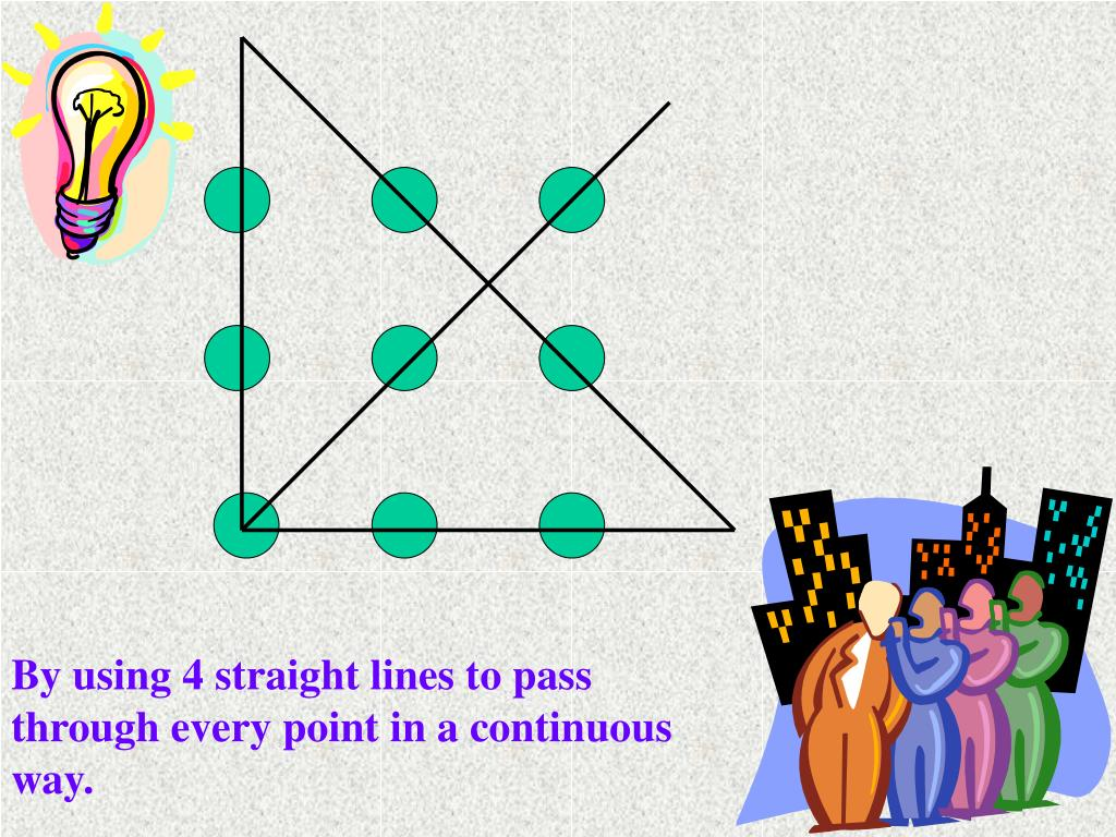 By using 4 straight lines to pass through every point in a continuous way.