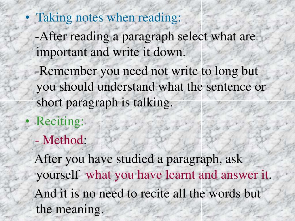 Taking notes when reading: