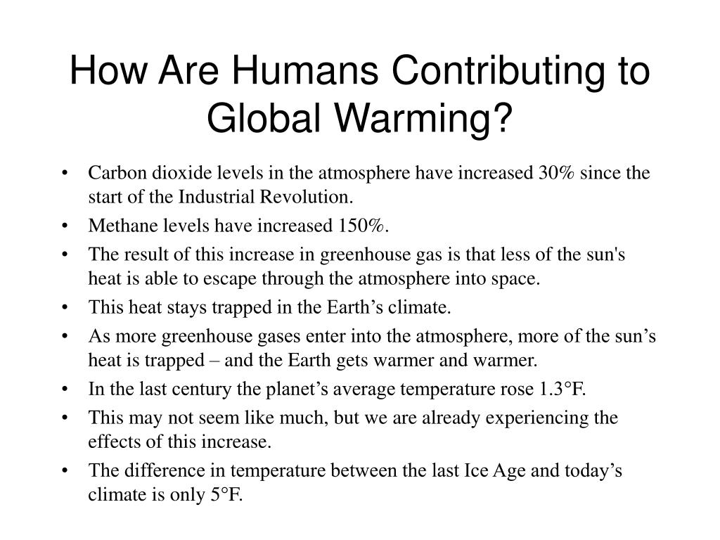 How Are Humans Contributing to Global Warming?