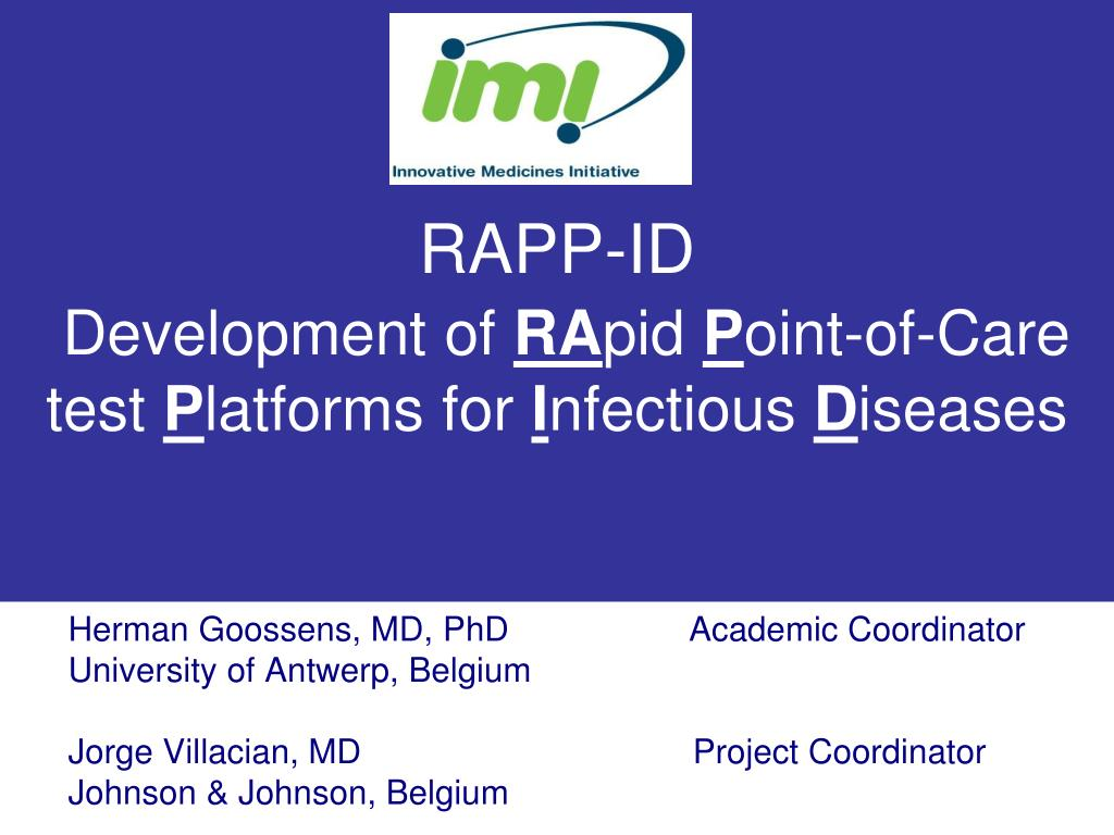rapp id development of ra pid p oint of care test p latforms for i nfectious d iseases