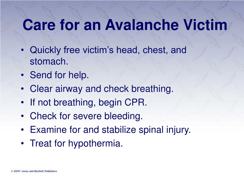Care for an Avalanche Victim