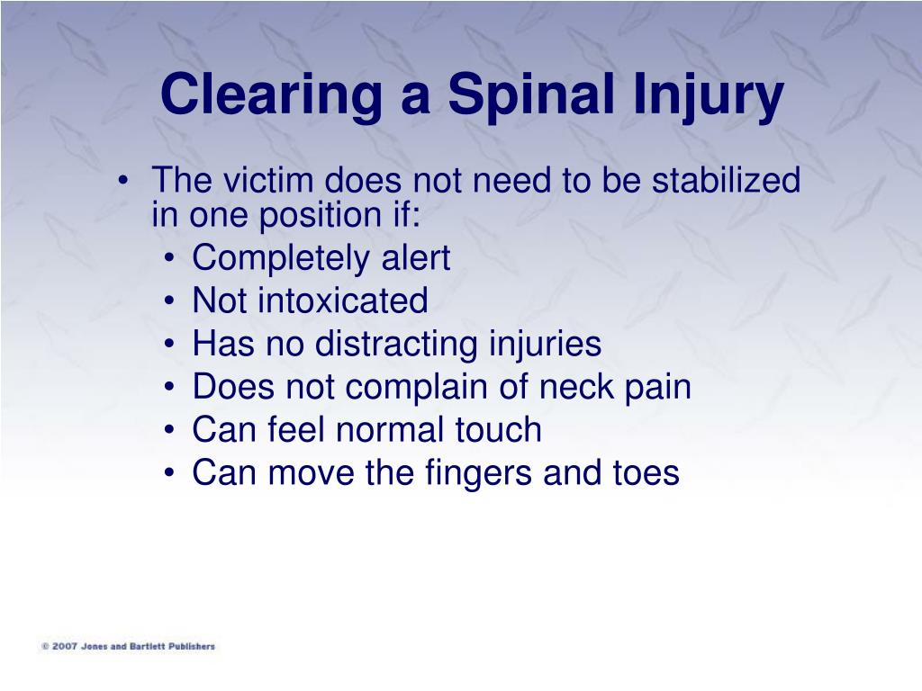 Clearing a Spinal Injury