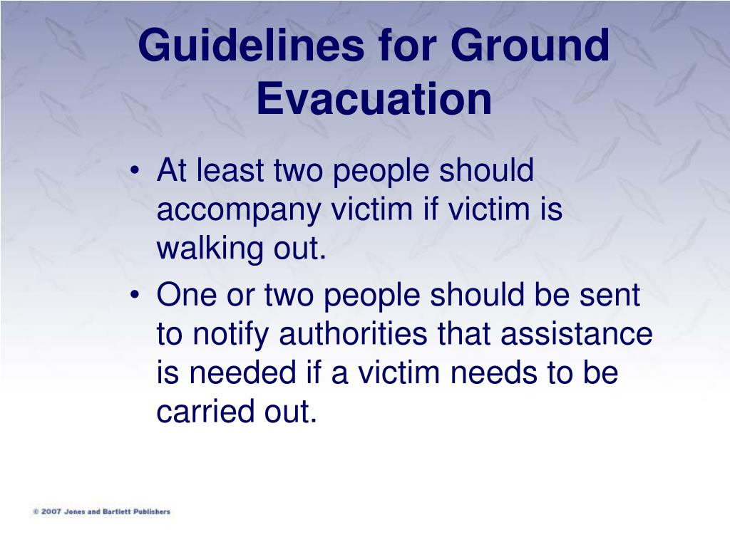 Guidelines for Ground Evacuation