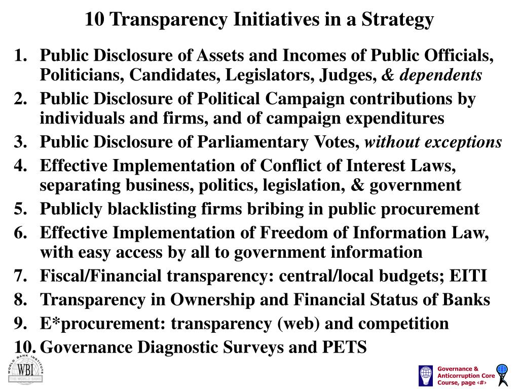 10 Transparency Initiatives in a Strategy