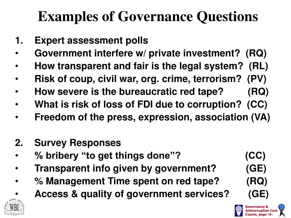 Examples of Governance Questions