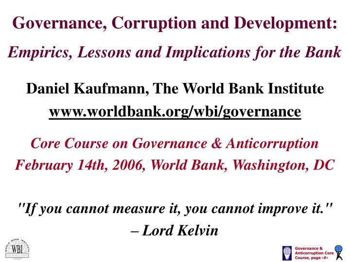 Governance corruption and development empirics lessons and implications for the bank