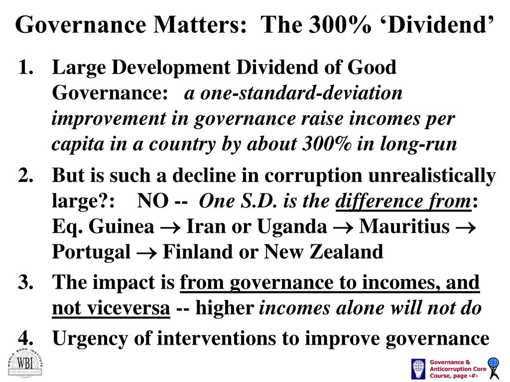 Governance Matters:  The 300% 'Dividend'