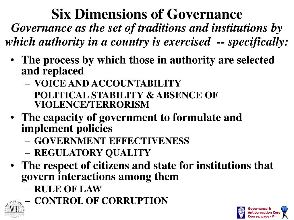 Six Dimensions of Governance
