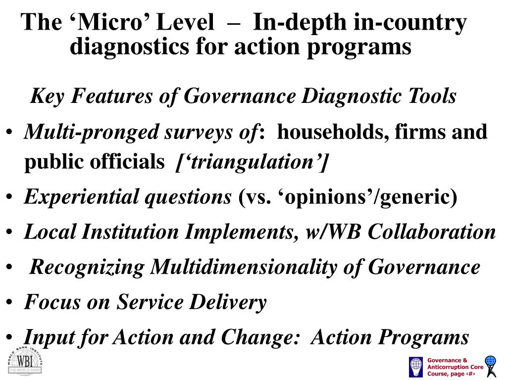The 'Micro' Level  –  In-depth in-country diagnostics for action programs