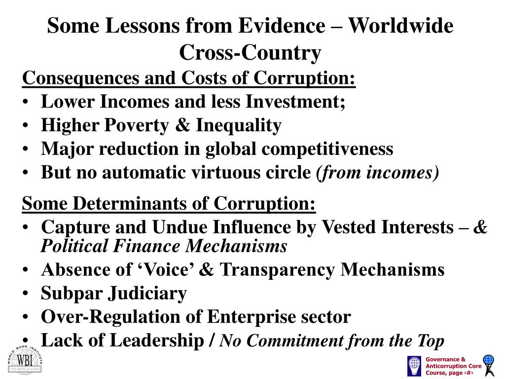 Some Lessons from Evidence – Worldwide Cross-Country