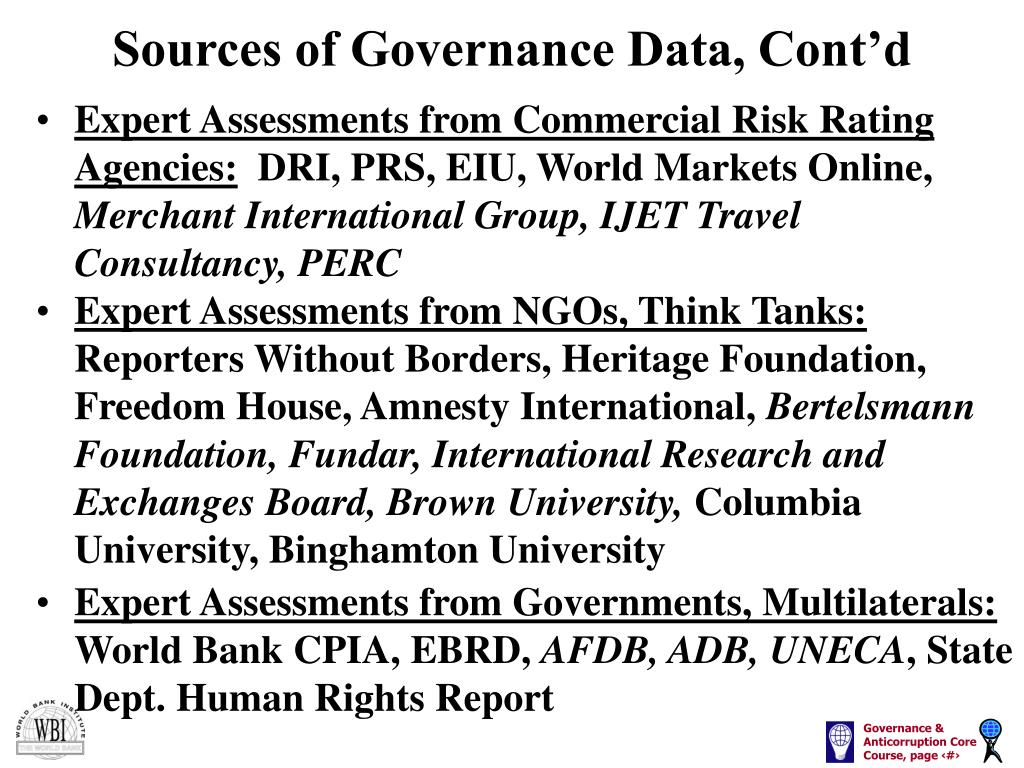 Sources of Governance Data, Cont'd