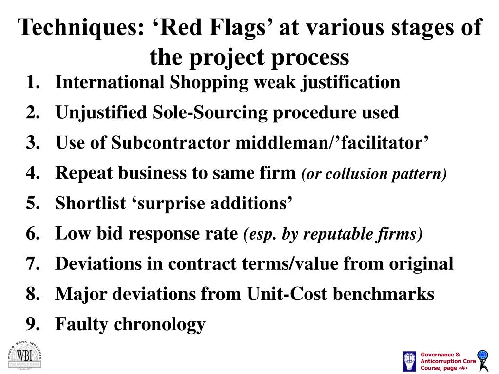 Techniques: 'Red Flags' at various stages of the project process