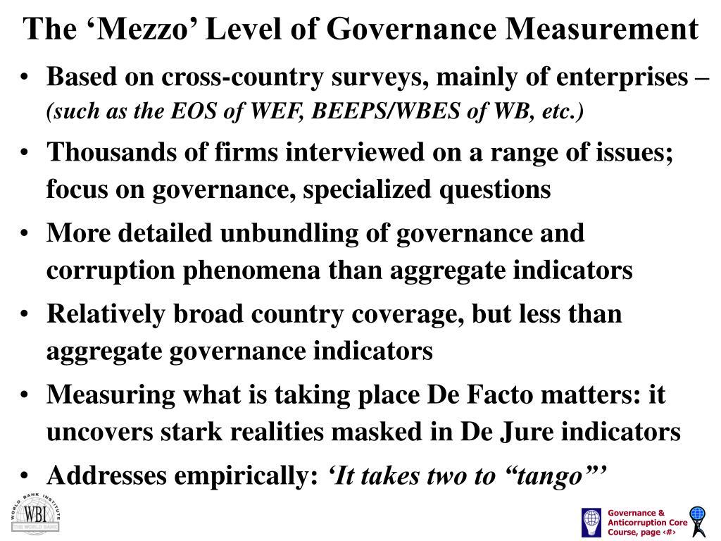 The 'Mezzo' Level of Governance Measurement