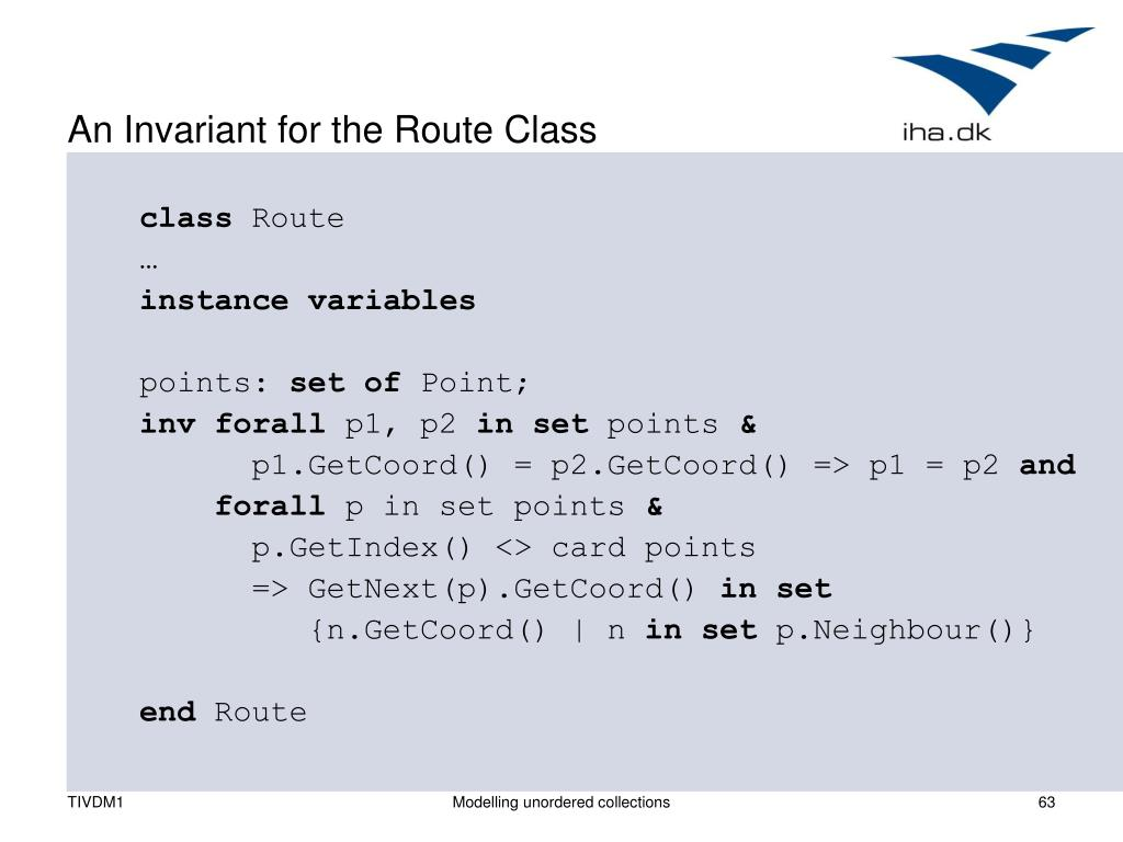 An Invariant for the Route Class