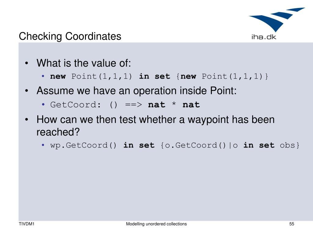 Checking Coordinates