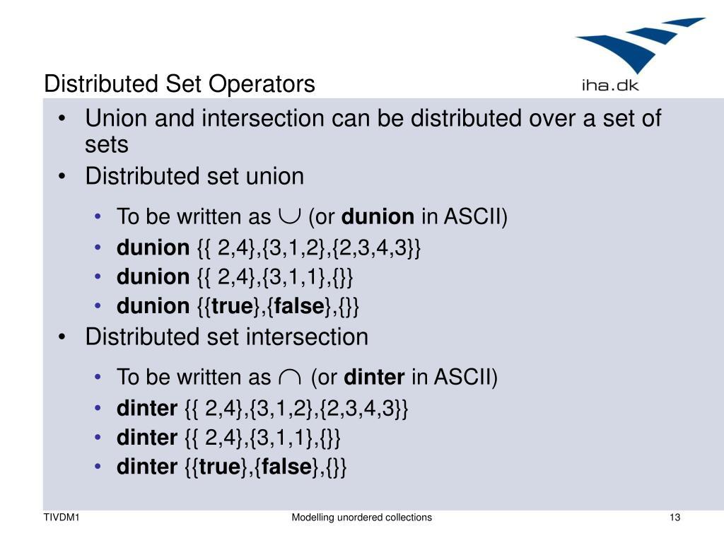 Distributed Set Operators