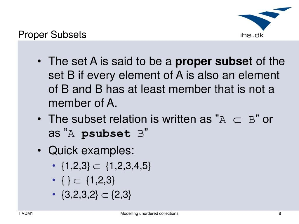 Proper Subsets