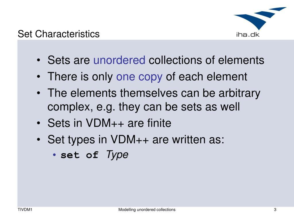 Set Characteristics