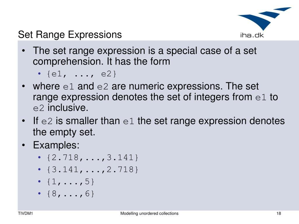 Set Range Expressions