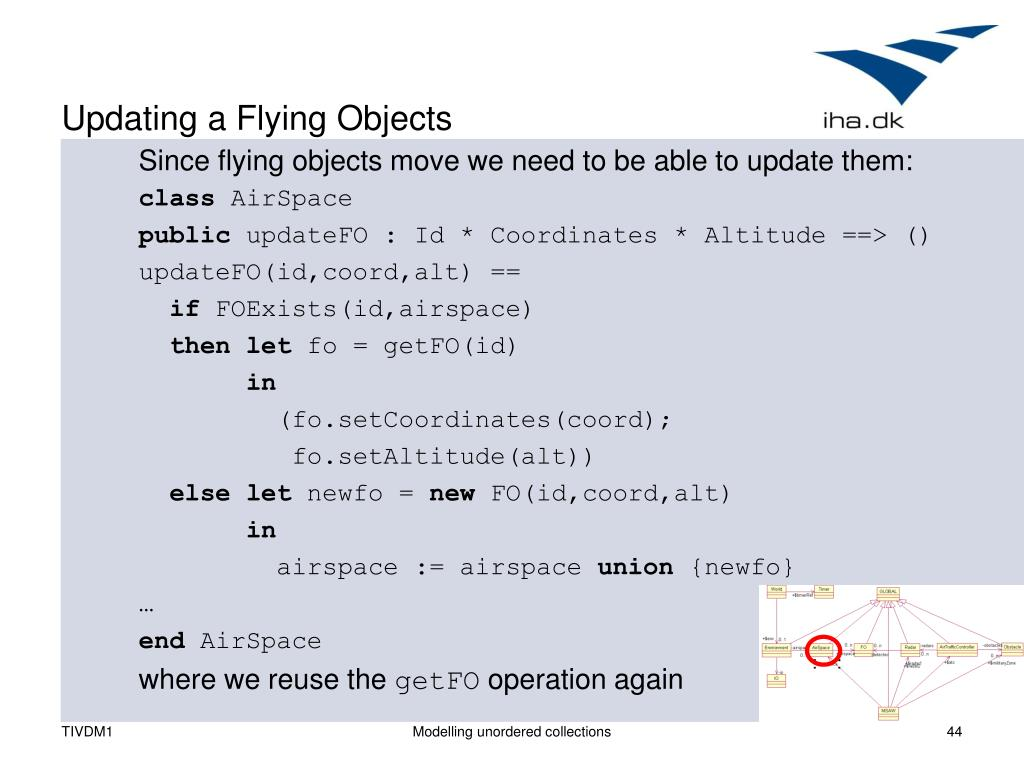 Updating a Flying Objects