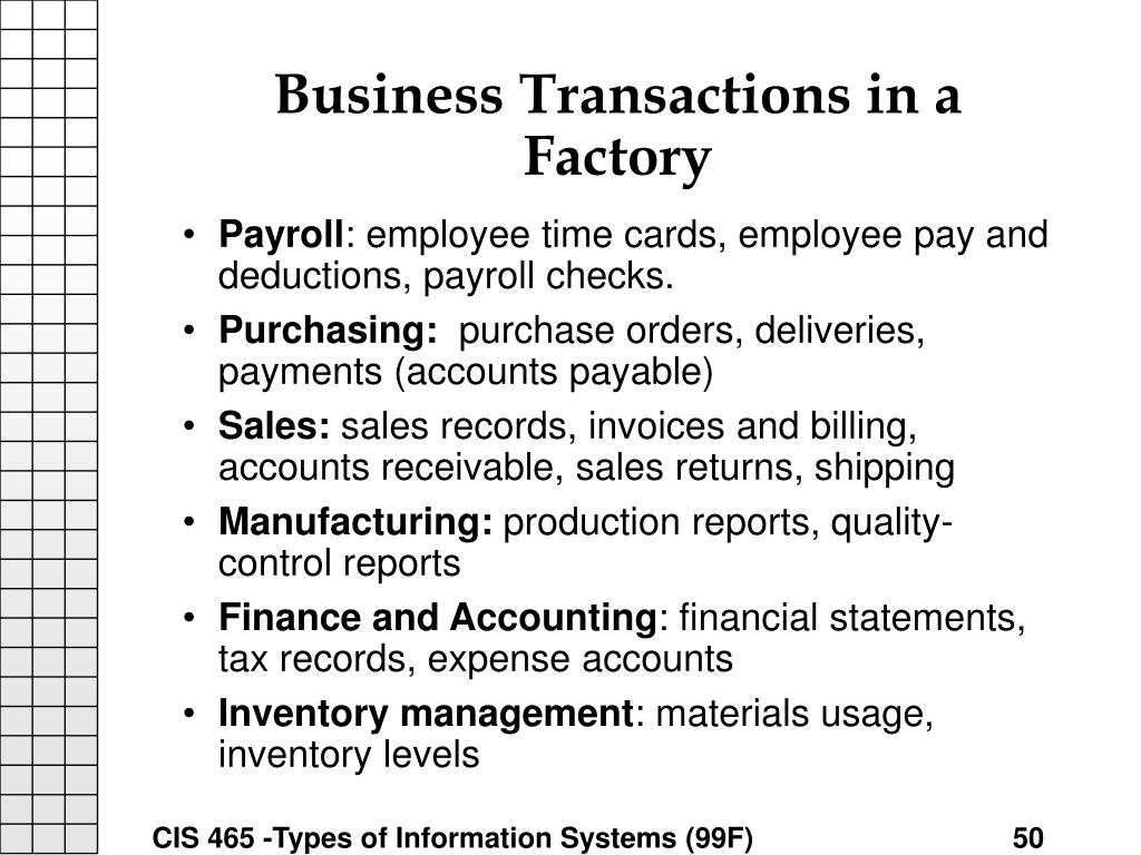 Business Transactions in a Factory